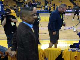Sacramento Mayor Kevin Johnson attends Game 6 of the Warriors-Spurs playoff series Thursday night.