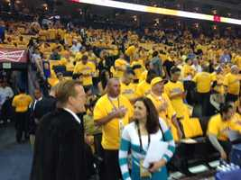Fans get ready for the start of Game 6 at Oracle Arena between the Spurs and Warriors.