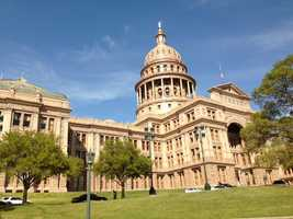 A photo of the Texas state capitol building in Austin.