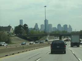 A photo of the downtown Houston skyline.