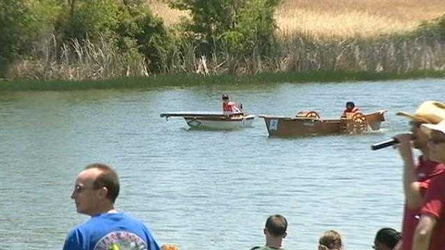 More than 20 solar powered boats, built by middle school and high school students from schools throughout the Central Valley, competed in the 2nd annual SMUD Solar Regatta Race at the Rancho Seco Lake.