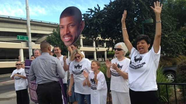 Georgia West shows support for her son, Sacramento Mayor Kevin Johnson.