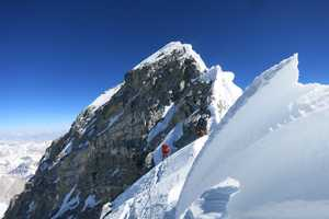The Hillary Step is the most technical part of the summit climb.