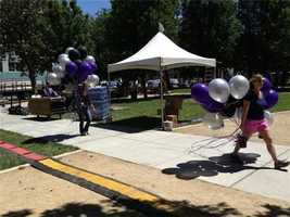 Organizers prepare for Thursday night's Kings rally at Cesar Chavez Plaza in downtown Sacramento. (May 23, 2013)