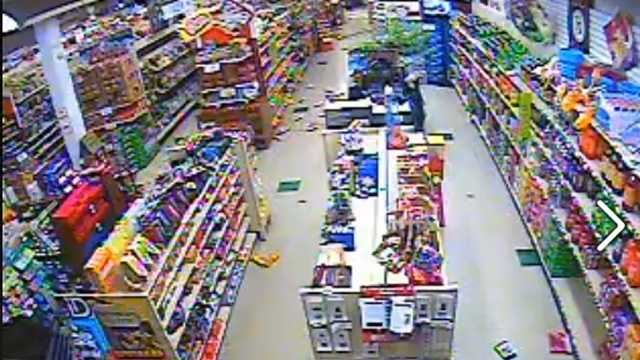 Surveillance video at Evergreen Market in Greenville showed items from store shelves being knocked to the ground during Thursday's earthquake.
