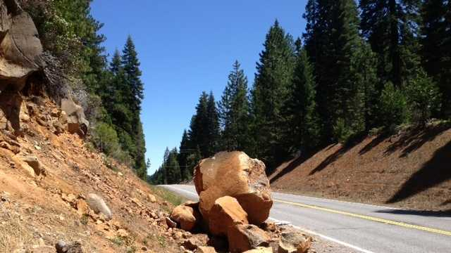A boulder in Plumas County after Thursday night's earthquake (May 24, 2013).