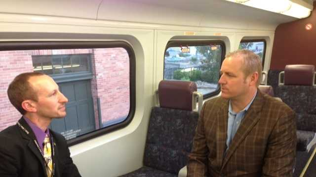 Representative Jeff Denham holds a town hall with constituents on the ACE train from Stockton to the Bay Area. (May 29, 2013)