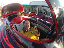 Brian Hickey gives a thumb's up inside the turbine-power racer.
