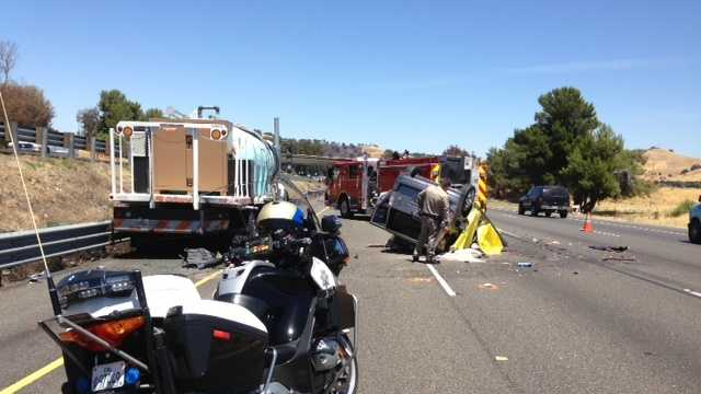 A three-car accident in Solano County left one woman dead Thursday afternoon, according to the California Highway Patrol.