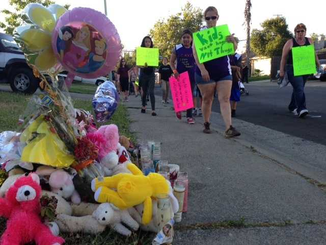 The Guardian Angels hosted a march in North Highlands on Friday. That area of Sacramento County has seen a recent spike in violence, which includes the shooting death of a 10-year-old (March 31, 2013).