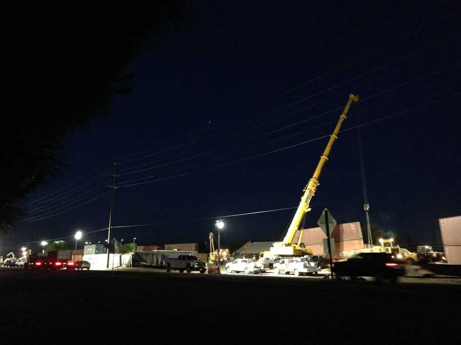 Crews are working around the clock to clear a derailed train inDenair.