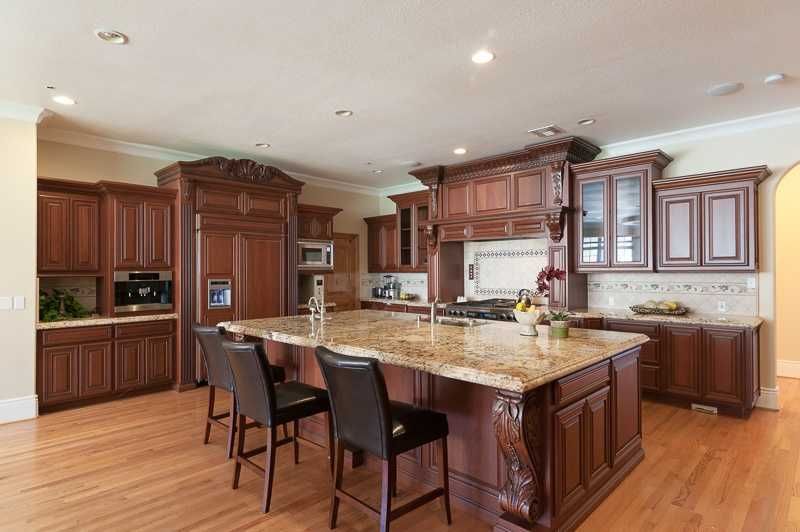 Here's a look inside the kitchen and the marble counter tops -- which are found throughout the home.