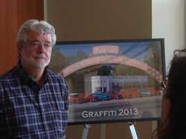 Director George Lucas returned to his native Modesto on Friday to be the grand marshal in a parade marking the 40th anniversary of American Graffiti.