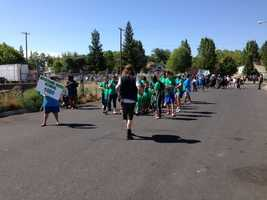 Drummers from the Mustard Seed School for Homeless Children lead a parade as part of Loaves & Fishes 30th year of serving Sacramento's homeless community on Wednesday.