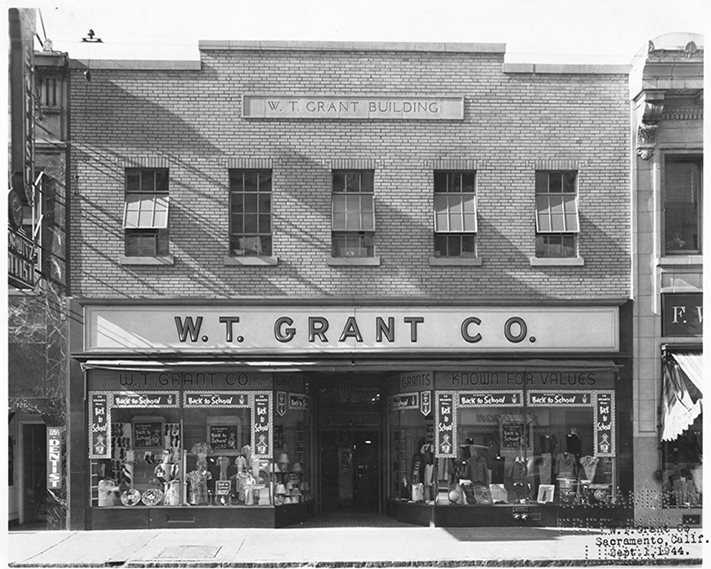 722 K Street: Formerly the W.T. Grant building, Metro PCS Wireless services is now located in a brick building at 722 K Street. Grant's store used to sell a variety of items for less than a quarter at this location until World War II forced Grant to raise prices to a dollar.