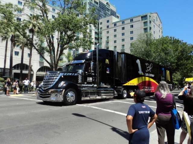 Jamie McMurray's truck, along with the rest of the hauler trucks, made a loop around the state Capitol.