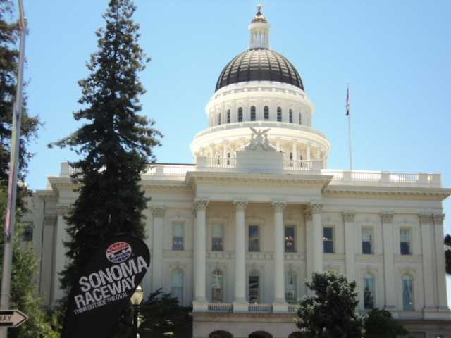 A hauler parade, an event that was part of NASCAR Day in Sacramento, kicked off at the Tower Bridge and made its way around the state Capitol on Thursday.