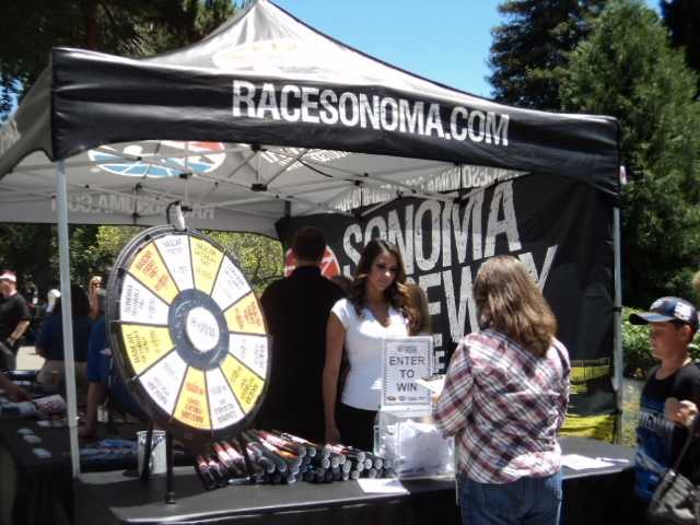 Spectators were able to spin a wheel for a chance to win several prizes, including tickets to Sunday's big race.