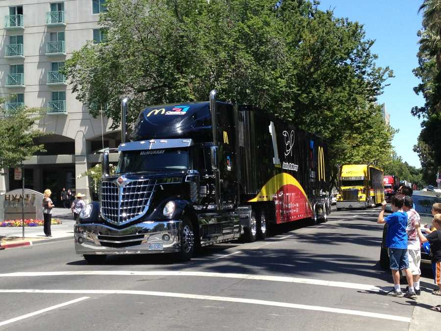 This black hauler holds Jamie McMurray's McDonald's number 1 car in the Hauler Parade as it passes through L Street on Thursday.