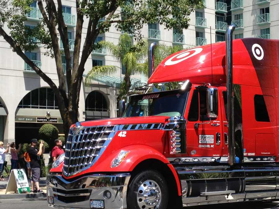 Juan Pablo Montoya's number 42 car sits in this bright red Target hauler in the parade celebrating NASCAR Day in Sacramento on Thursday.