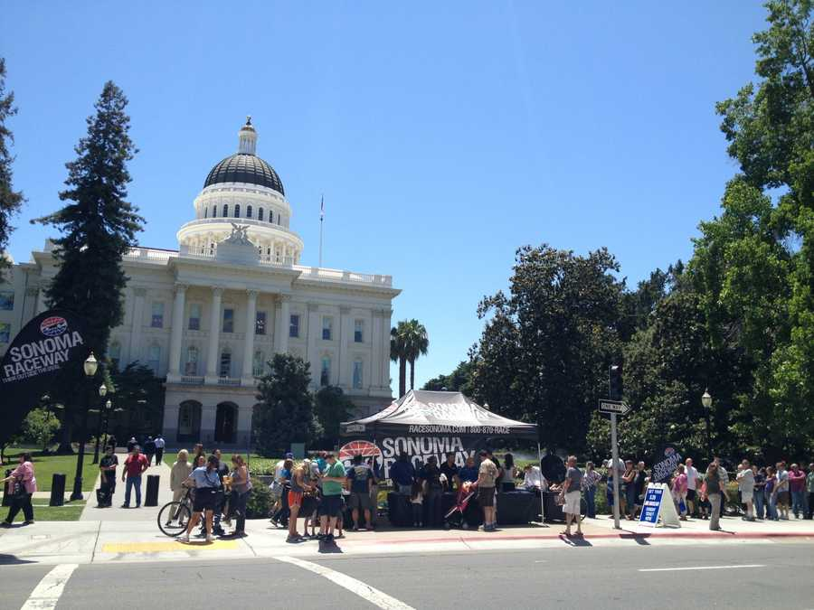 The Hauler Parade, an event that was part of NASCAR Day in Sacramento, kicked off at the Tower Bridge and made its way around the state Capitol as spectators waited Thursday.
