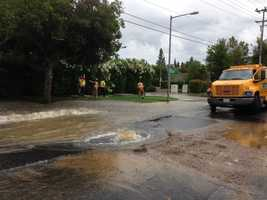A water main on Franklin Boulevard, in Elk Grove, broke Tuesday afternoon (June 25, 2013).