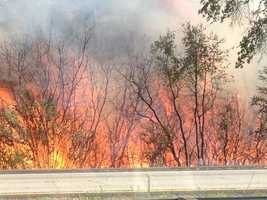 A grass fire burned along Highway 50 in the Shingle Springs area on Monday.