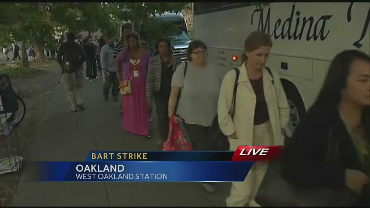 San Francisco Bay area commuters encountered crowded roads and lines for buses and ferries after Bay Area Rapid Transit train workers are on strike for the second day.