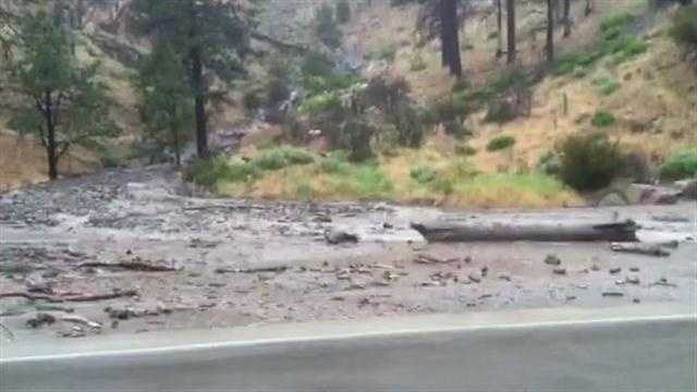 All east and westbound lanes of Interstate 80 in the Sierra Nevada were blocked due to landslides at the Nevada-California state line on Tuesday.