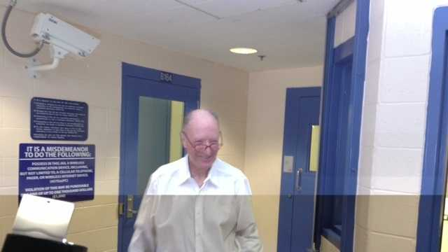 George Souliotes smiles Wednesday following his release.