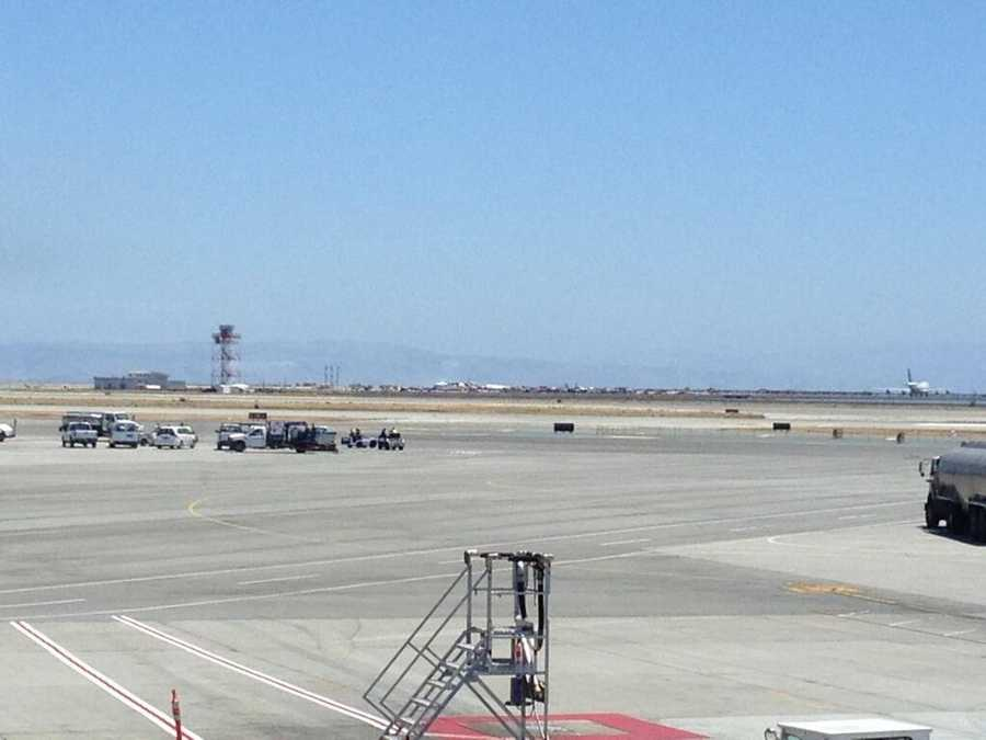 Smoke cleared after the crash at San Francisco International Airport.
