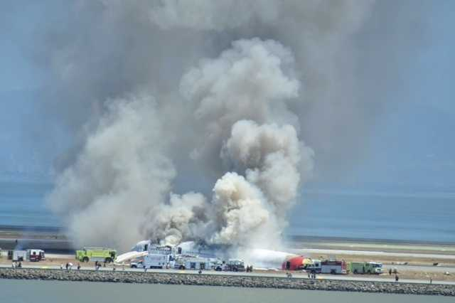 Photo taken after an Asiana Airlines plane crashed Saturday on a runway at San Francisco International Airport.