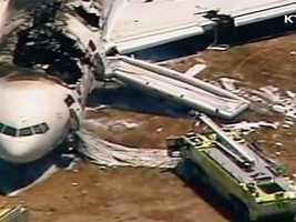 The damaged plane came to a rest about 80 feet from the runway.