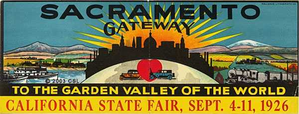 A poster that advertised the California State Fair in 1926 showed two cars with a skyline of the city, some steamboats, the railroad and mountains in distance.