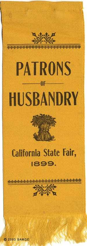The Patrons of Husbandry's banner was an embossed silk ribbon with a shock of wheat in center.