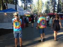 """WorldFest, a weekend-long event held in Grass Valley, features a wide variety of food, as pictured on Friday. This shot shows the so-called """"Food Row"""" (July 12, 2013)."""
