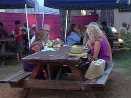 Many gathered at picnic tables, as well (July 12, 2013).