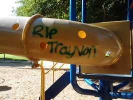 Graffiti is peppered around a park in Davis, with messages on the recent acquittal of George Zimmerman, previously accused of killing teenager Trayvon Martin in Florida. Zimmerman was found not guilty of the charges on Saturday by a jury of six (July 15, 2013).