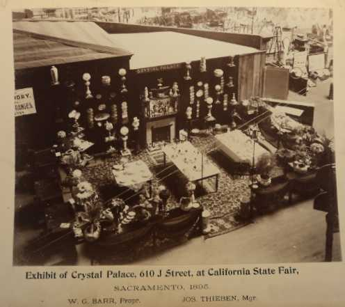 """This Crystal Palace Pottery Exhibit won an award for """"Best display of ornamental statuary"""" and """"Best display of lamps,"""" in the late 1800s when it debuted at the fair."""