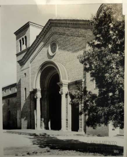 This is a front view of the brick agricultural building at the State Fair from 1927, when the fair was located on Stockton Boulevard.