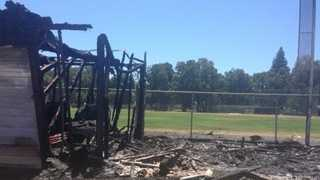 When firefighters arrived, they found a structure burning near the school's soccer field.