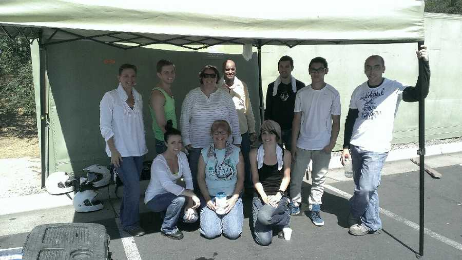 Here are my classmates! I'm pretty sure we chose the hottest weekend of the year to take this course. Rocklin's highs were in the triple digits, combined with a hot motorcycle and helmet all radiating off the black asphalt. This canopy was our only refuge from the sun.