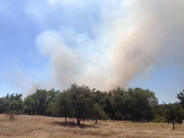 A grass fire is burning near Rancho Cordova on Friday afternoon.