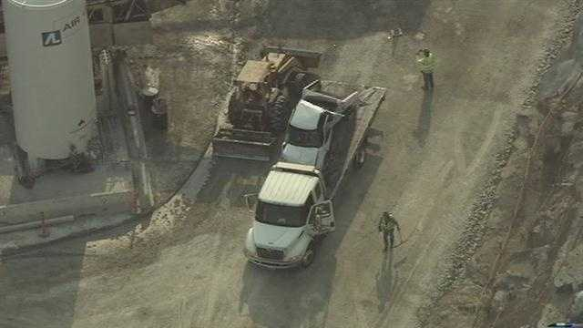 A driver inside a pickup truck flew over an embankment Tuesday morning at a construction site off Folsom Lake Crossing.