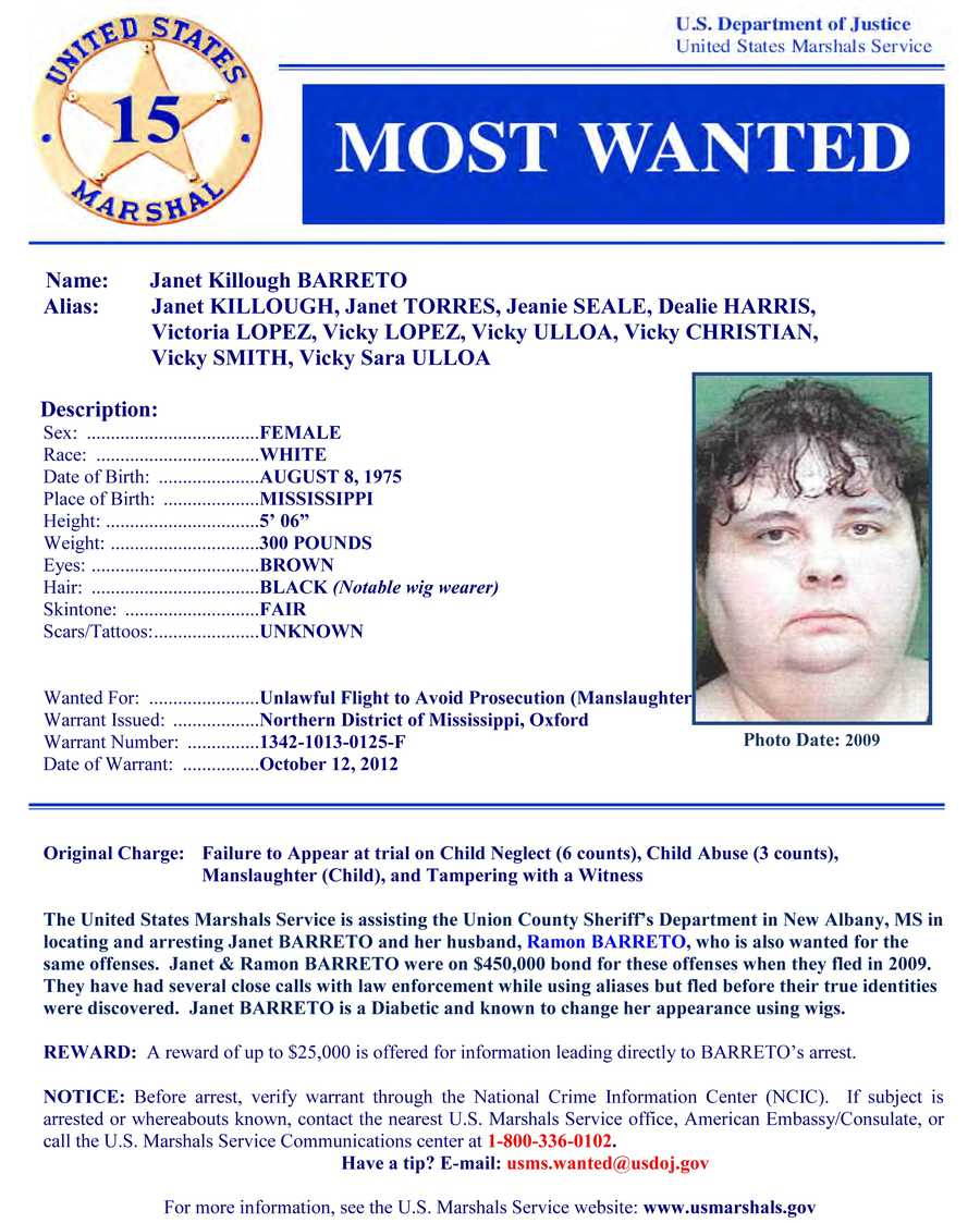 Janet Killough BarretoWanted on charges of: Unlawful flight to avoid prosecution (manslaughter)Click here to see full wanted poster