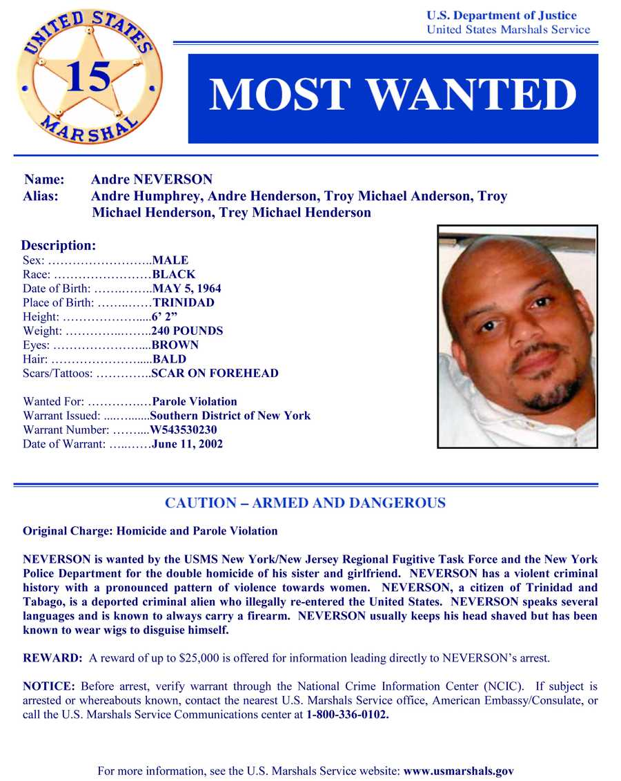 Andre NeversonWanted on charges of: Parole violation.Click here to see full wanted poster