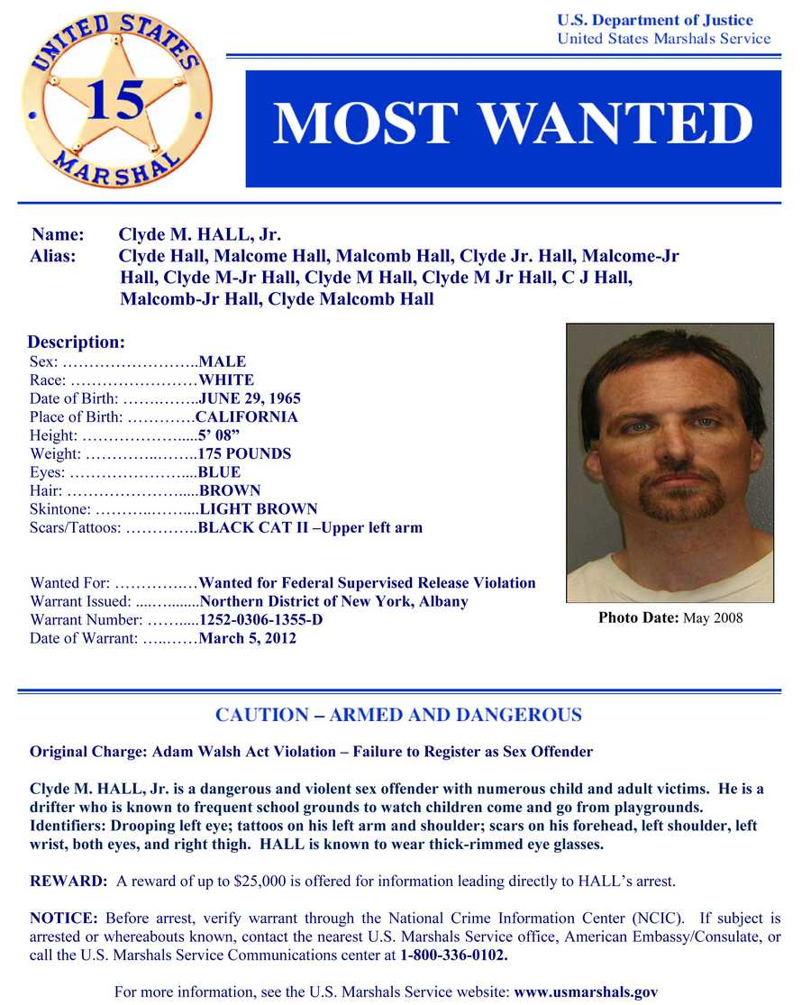 Clyde HallWanted on charges of: Federal supervised release violation and sex offenses.Click here to see full wanted poster