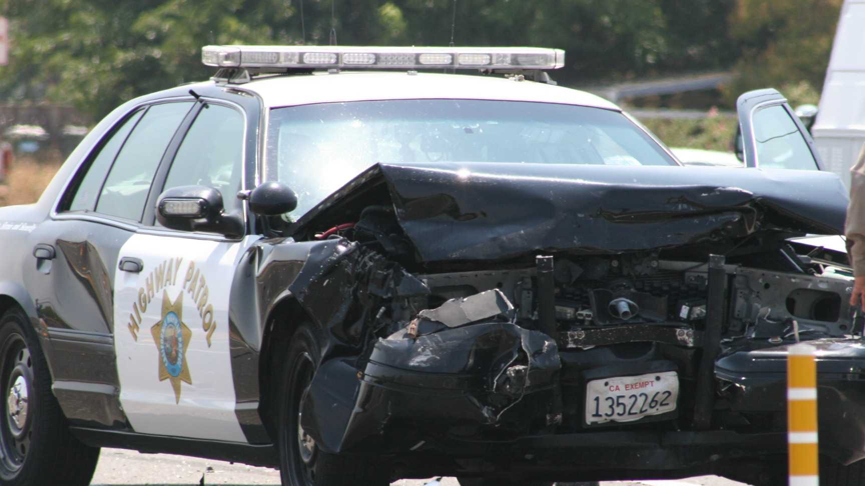 The CHP said the civilian car was likely turning into a parking lot, or making a U-turn, and didn't yield to the siren.
