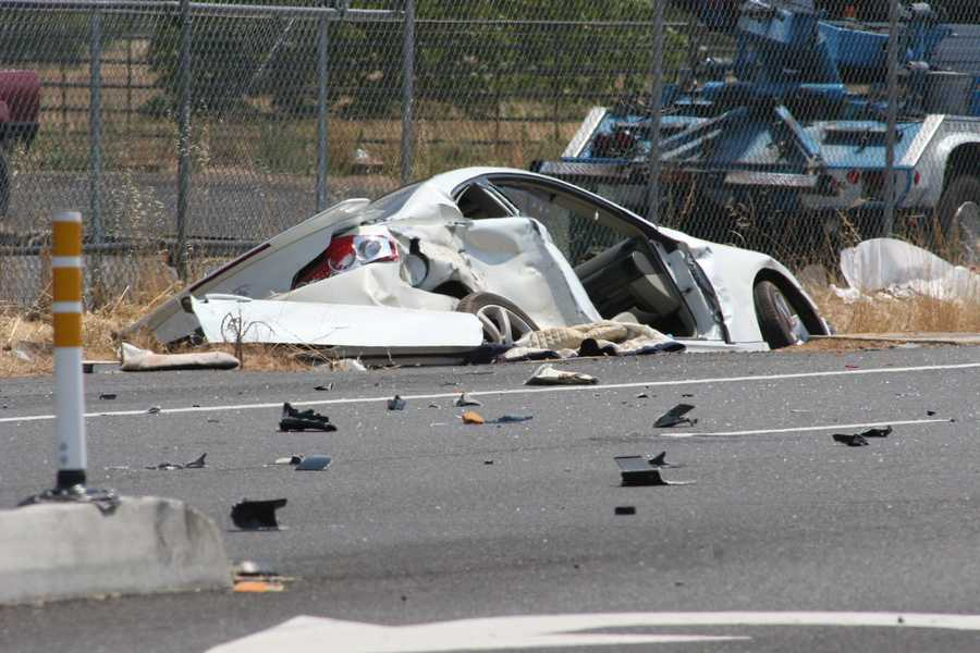 Two people inside that car were hurt. The CHP officer suffered major injuries, but is expected to survive, officials said.