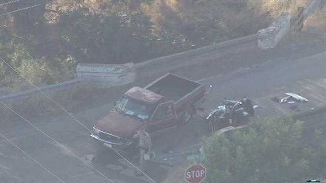 Images from LiveCopter 3 showed the damaged motorcycle on the road and debris. The road was partially blocked.
